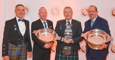 (From left to right) Spirit of Speyside Whisky Festival chairman James Campbell with award winners Laurie Piper, Ian Urquhart and Peter Klas.